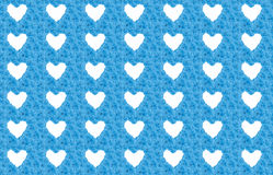 Blue flower background with white hearts Royalty Free Stock Images