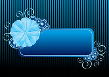 Blue Flower Banner. Decorative background with banner or label illustration with blue flower Stock Photos