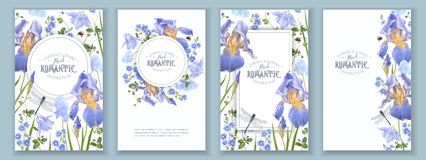 Blue flower banners set Stock Image