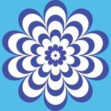 Blue flower with a beautiful patterned petals. Blue circular flower pattern with a beautiful striped patterned petals Royalty Free Stock Photo