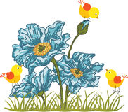 Blue flower with birds. Scalable vectorial image representing a blue flower with birds, isolated on white Royalty Free Stock Photo