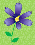 Blue flower in bloom. Illustration of decorative blue flower with green floral background Stock Illustration