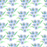 Blue flower bouquet seamless pattern. Hand-painted watercolor floral illustration. Forget-me-not pattern tile. Gentle pastel flower and leaves. Spring nature royalty free illustration