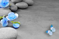 Blue flower and butterfly on stone background. Stock Photo