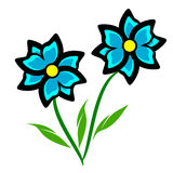 Blue Flower Clipart. Two blue flowers with a black outline on a green stem with leaves royalty free illustration