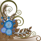 Blue flower composition. Asymmetric plant composition of blue flowers and brown leaves Stock Photography