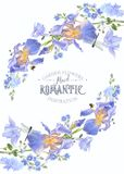 Blue flower composition. Vector botanical banner with blue flower composition on white. Floral design for natural cosmetics, perfume, women products. Can be used vector illustration