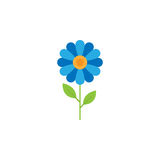 Blue Flower flat icon. Plant nature, chamomile sign, a colorful solid pattern on a white background, eps 10 Stock Image