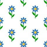 Blue Flower Flat Icon Seamless Pattern Royalty Free Stock Images