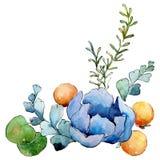 Blue flower. Isolated flower illustration element. Background illustration set. Watercolour drawing aquarelle bouquet. Blue flower. Floral botanical flower stock illustration