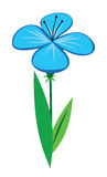 Blue flower. With four petals is isolated on white background stock illustration