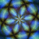 Blue flower glow object in universe stock illustration