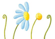 Blue flower and grass. Acrylic illustration of blue flower and grass royalty free illustration