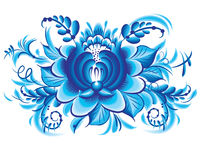Blue flower in gzhel style Royalty Free Stock Photography