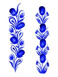 Blue flower. Hand drawn, , illustration in Ukrainian folk style Stock Photography