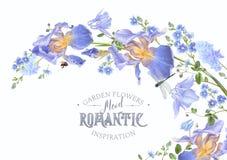 Blue flower horizontal wave Royalty Free Stock Photo