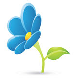 Blue Flower Icon Stock Photo