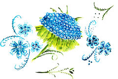 Blue flower illustration Royalty Free Stock Image