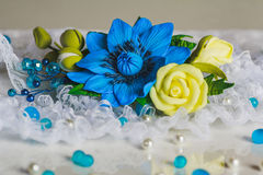 Blue flower jewerly Royalty Free Stock Photography