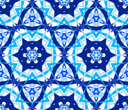 Blue Flower Kaleidoscopic Pattern. Kaleidoscope Pattern. Seamless blue background. Star mandala geometric graphic print. Psychedelic design element for wallpaper Stock Photos