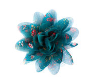 Blue flower lace fabric Royalty Free Stock Photo