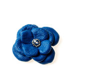 Blue flower. Leather colorful brooch isolated on a white background Stock Photo