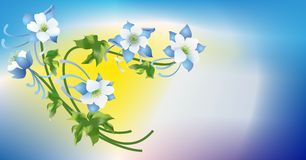 Blue flower with leaves Royalty Free Stock Image