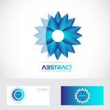 Blue flower logo 3d Stock Images