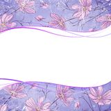 Blue flower over violet background. Vector illustration, contains transparencies, gradients and effects Royalty Free Stock Images