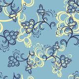 Blue Flower Pattern. Yellow and dark blue flowers on a blue background Stock Image