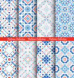 Blue Flower Patterns Boho Backgrounds Royalty Free Stock Images