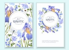 Blue flower round banners. Vector botanical banners with blue flowers and dragonfly on white. Floral design for natural cosmetics, perfume, women products. Can Royalty Free Stock Photos