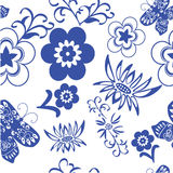 Blue flower sealess pattern Stock Photo