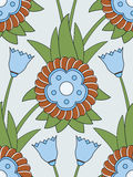 Blue flower seamless pattern. With green leaves Stock Image