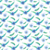Blue flower seamless pattern. Hand-painted watercolor floral illustration. Forget-me-not flower pattern tile. Bright blue flowers and green leaves. Spring vector illustration