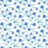 Blue flower seamless pattern. Hand-painted watercolor floral illustration. Forget-me-not flower pattern tile. Gentle flowers and leaves. Summer nature bloom Royalty Free Stock Photography