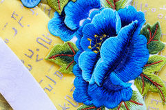 Blue flower silk embroidery flowers Stock Photos