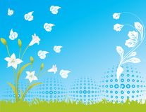 Blue flower sky spring illustration  landsca Stock Images