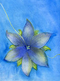 Blue flower on a string abstract watercolor painting Stock Image