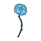 Blue flower tattoo comic cartoon Stock Photo