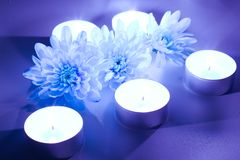 Blue flower and tea candles. Spa background Stock Photos