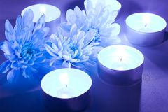 Blue flower and tea candles. Spa background Royalty Free Stock Photography