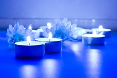 Blue flower and tea candles. Spa background stock photography