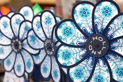 Blue flower windmills Stock Image