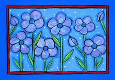 Blue flowers. Illustration / painting of blue flowers on blue background with border. I am the artist and hold the copyright Stock Images