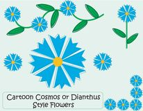 Blue Flowers. A selection of cartoon style Cosmos or Dianthus flowers and floral elements Royalty Free Stock Photography