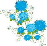 Blue flowers. Illustrated blue flowers on a vine Stock Photo