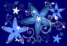 Blue flowers. And curls on a dark blue background Stock Images