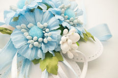 Blue flowers baby boy birth. Blue flowers bouquet for birth or baptism stock images