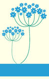 Blue flowers background. Blue flowers background with blue banner frame Stock Images